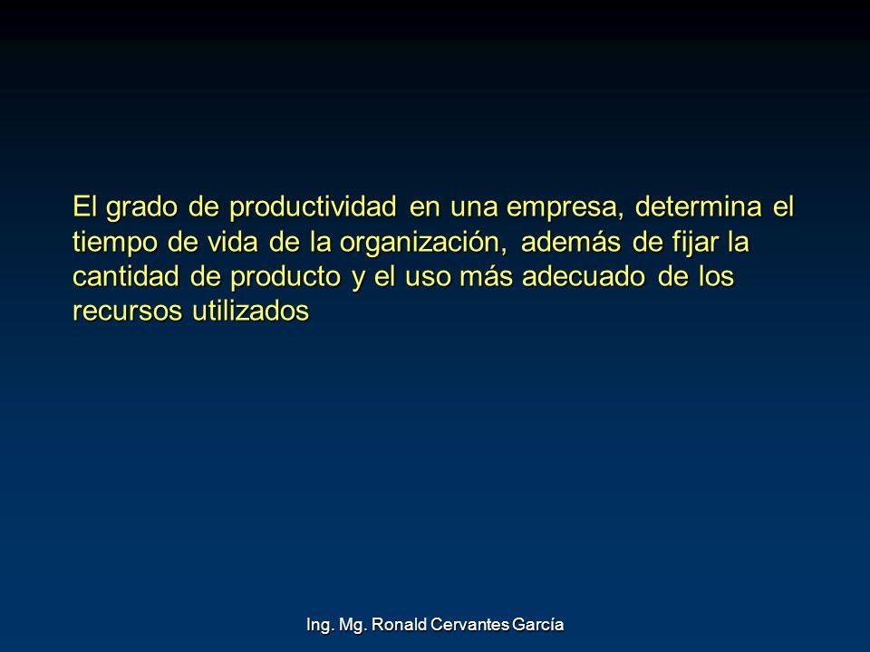 Ing. Mg. Ronald Cervantes García El grado de productividad en una empresa, determina el tiempo de vida de la organización, además de fijar la cantidad