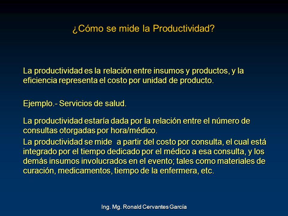 Ing. Mg. Ronald Cervantes García ¿Cómo se mide la Productividad? La productividad es la relación entre insumos y productos, y la eficiencia representa