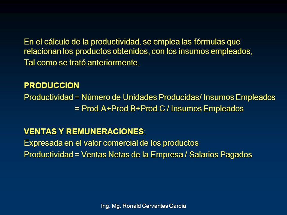Ing. Mg. Ronald Cervantes García En el cálculo de la productividad, se emplea las fórmulas que relacionan los productos obtenidos, con los insumos emp