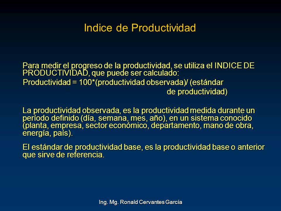 Ing. Mg. Ronald Cervantes García Indice de Productividad Para medir el progreso de la productividad, se utiliza el INDICE DE PRODUCTIVIDAD, que puede