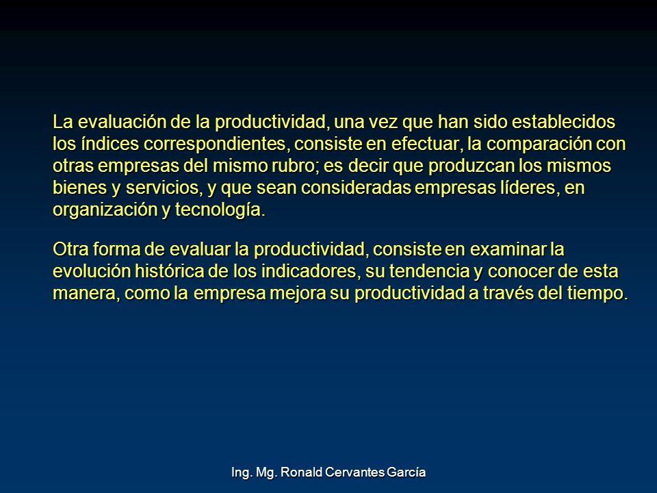 Ing. Mg. Ronald Cervantes García La evaluación de la productividad, una vez que han sido establecidos los índices correspondientes, consiste en efectu
