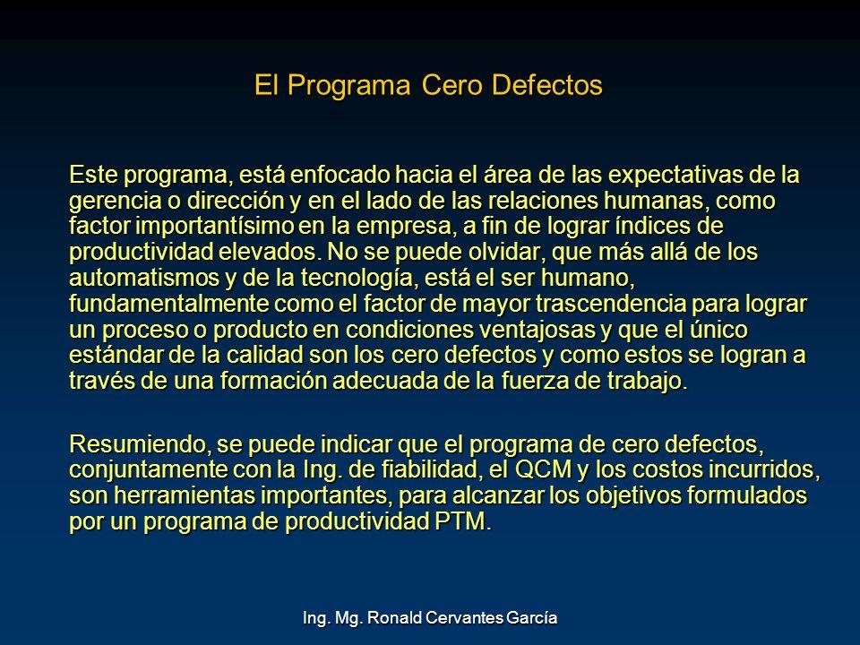 Ing. Mg. Ronald Cervantes García El Programa Cero Defectos Este programa, está enfocado hacia el área de las expectativas de la gerencia o dirección y