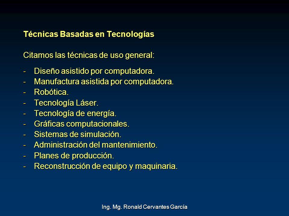 Ing. Mg. Ronald Cervantes García Técnicas Basadas en Tecnologías Citamos las técnicas de uso general: -Diseño asistido por computadora. -Manufactura a