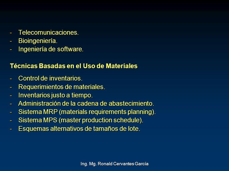 Ing. Mg. Ronald Cervantes García -Telecomunicaciones. -Bioingeniería. -Ingeniería de software. Técnicas Basadas en el Uso de Materiales -Control de in