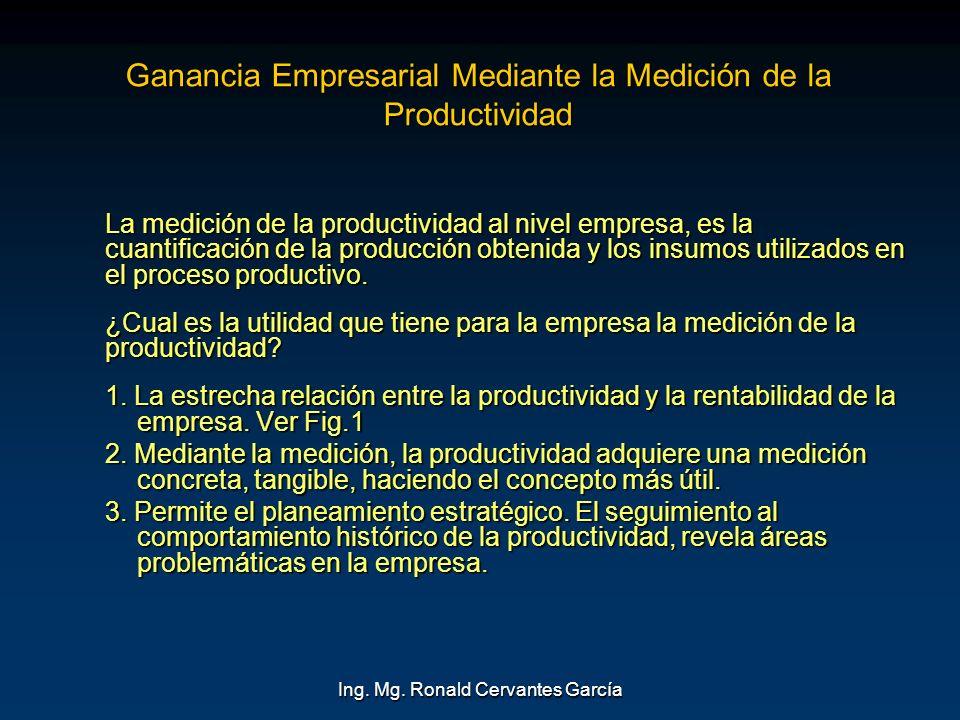 Ing. Mg. Ronald Cervantes García Ganancia Empresarial Mediante la Medición de la Productividad La medición de la productividad al nivel empresa, es la
