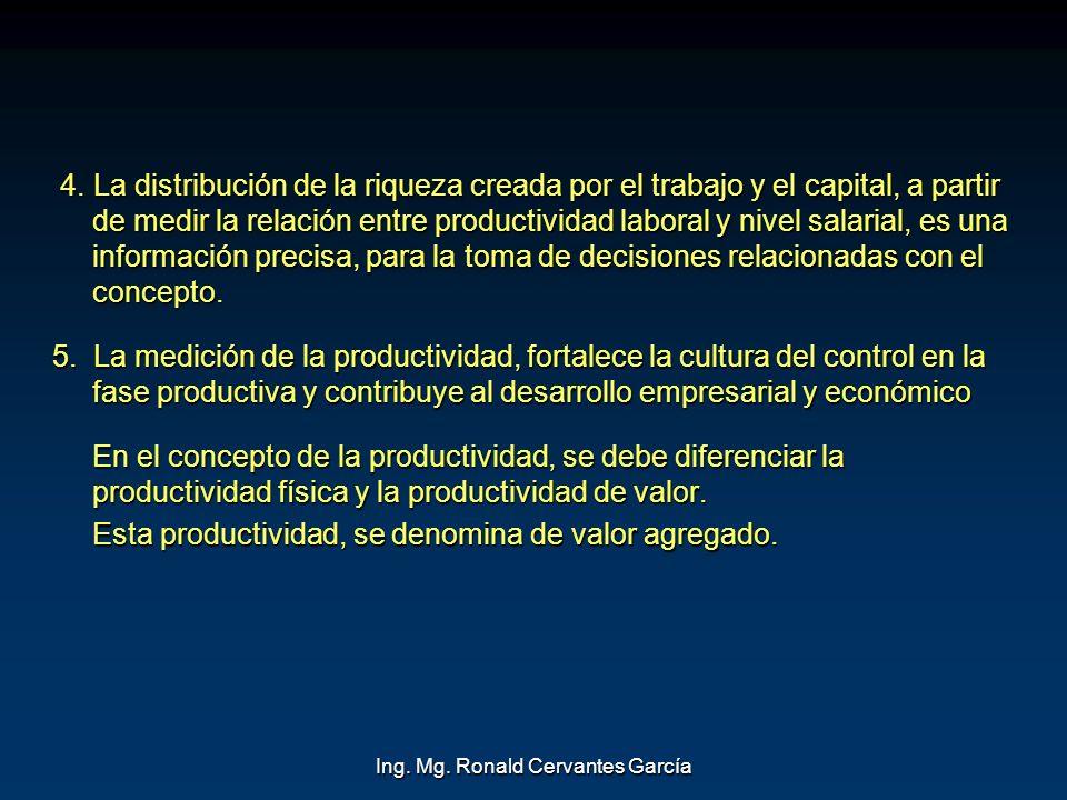 Ing. Mg. Ronald Cervantes García 4. La distribución de la riqueza creada por el trabajo y el capital, a partir de medir la relación entre productivida