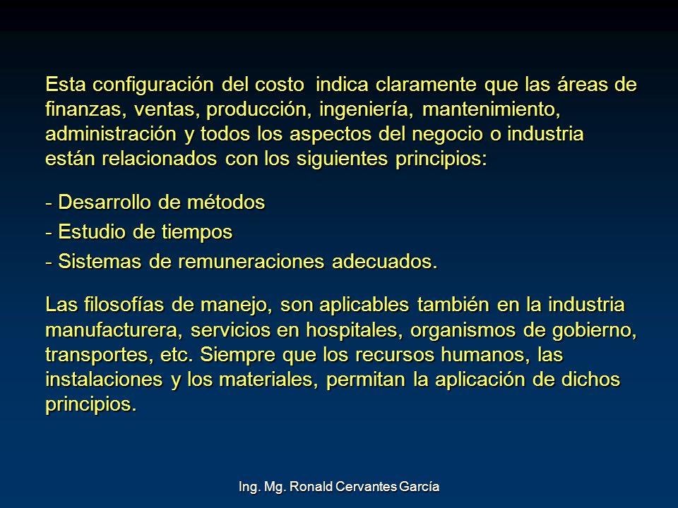 Ing. Mg. Ronald Cervantes García Esta configuración del costo indica claramente que las áreas de finanzas, ventas, producción, ingeniería, mantenimien
