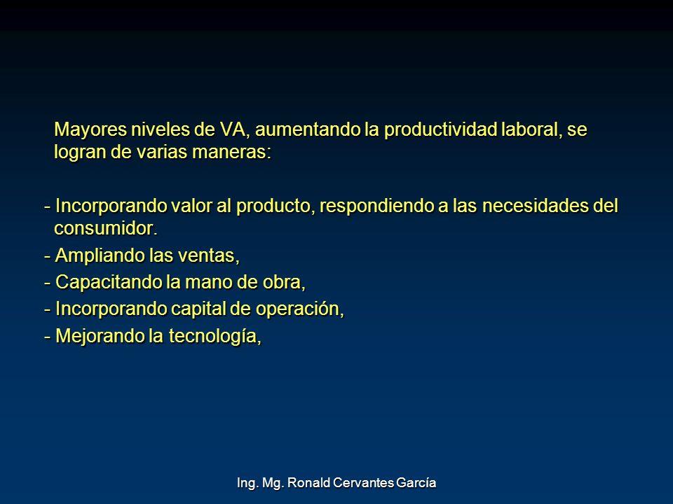 Ing. Mg. Ronald Cervantes García Mayores niveles de VA, aumentando la productividad laboral, se logran de varias maneras: - Incorporando valor al prod