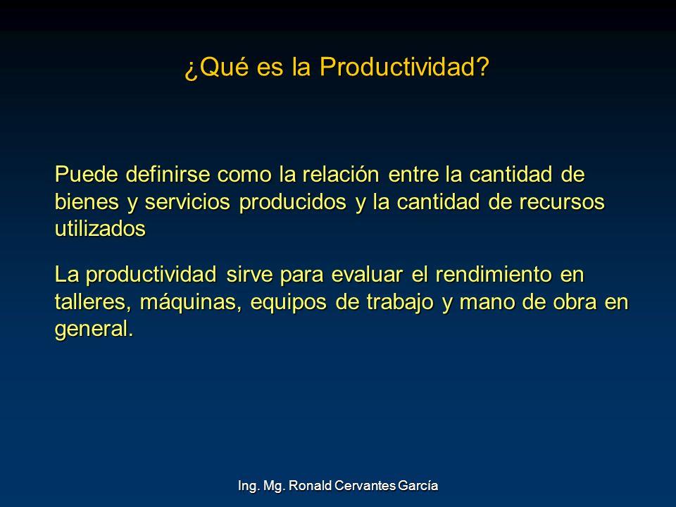 Ing. Mg. Ronald Cervantes García ¿Qué es la Productividad? Puede definirse como la relación entre la cantidad de bienes y servicios producidos y la ca
