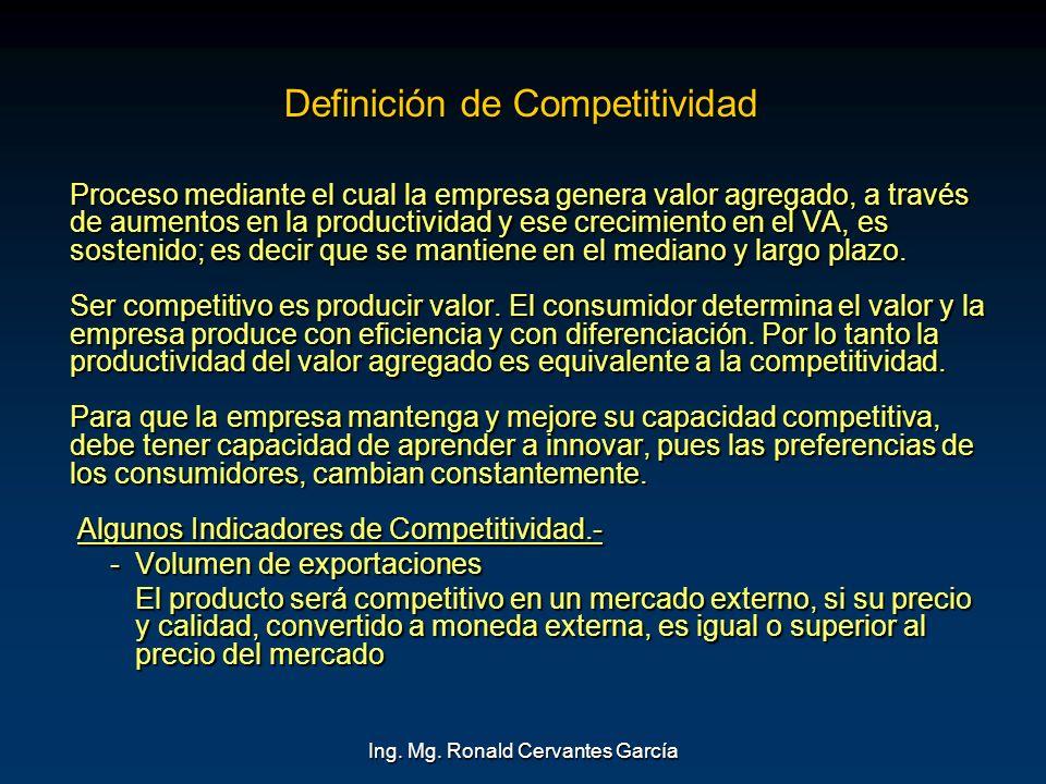 Ing. Mg. Ronald Cervantes García Definición de Competitividad Proceso mediante el cual la empresa genera valor agregado, a través de aumentos en la pr