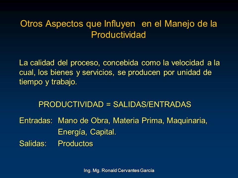 Ing. Mg. Ronald Cervantes García Otros Aspectos que Influyen en el Manejo de la Productividad La calidad del proceso, concebida como la velocidad a la