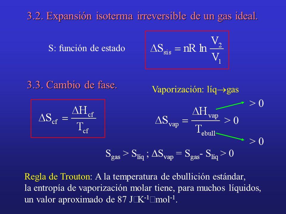 3.2. Expansión isoterma irreversible de un gas ideal. S: función de estado 3.3. Cambio de fase. Vaporización: líq gas > 0 S gas > S líq ; S vap = S ga
