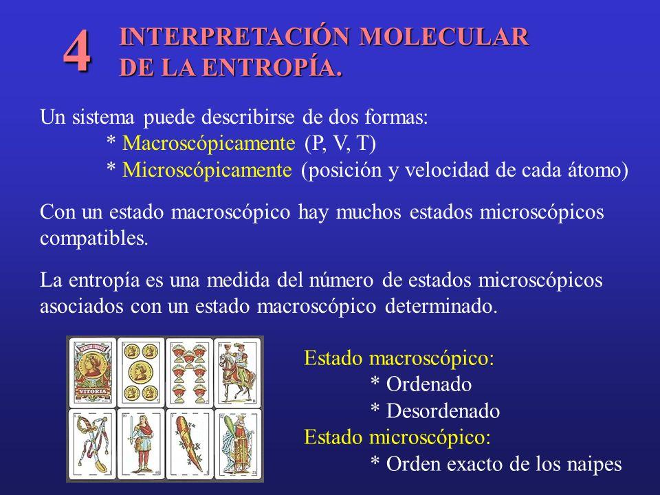 INTERPRETACIÓN MOLECULAR DE LA ENTROPÍA. 4 Un sistema puede describirse de dos formas: * Macroscópicamente (P, V, T) * Microscópicamente (posición y v