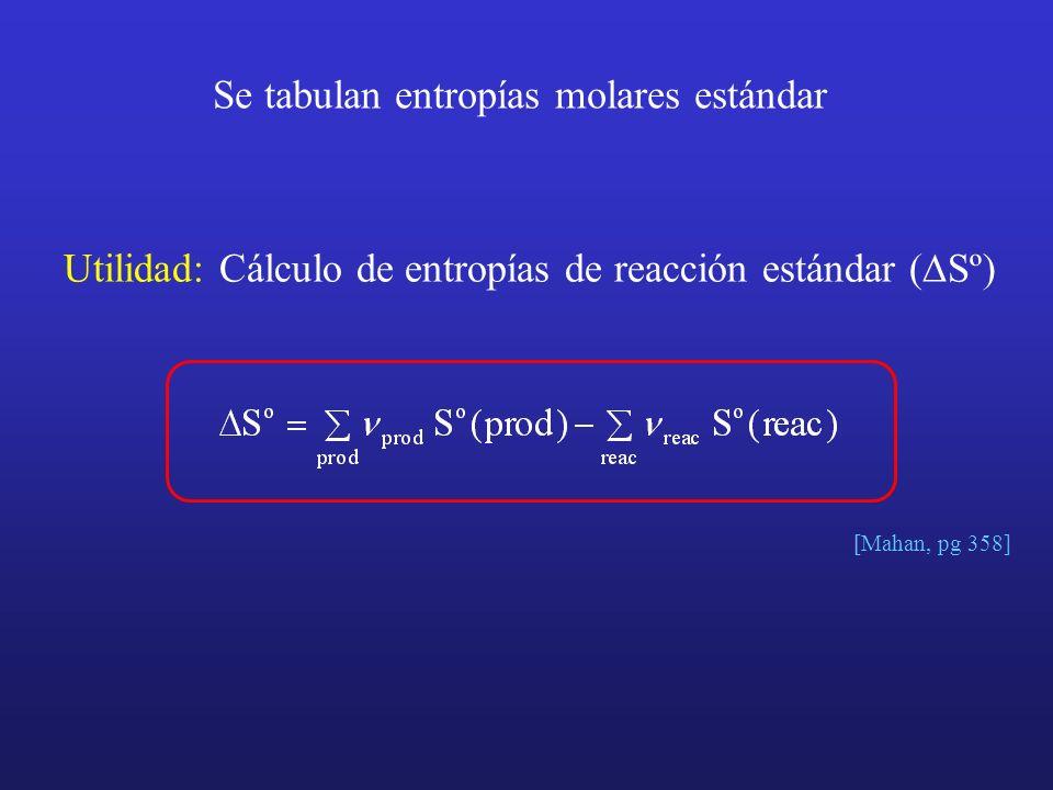 Se tabulan entropías molares estándar Utilidad: Cálculo de entropías de reacción estándar ( Sº) [Mahan, pg 358]