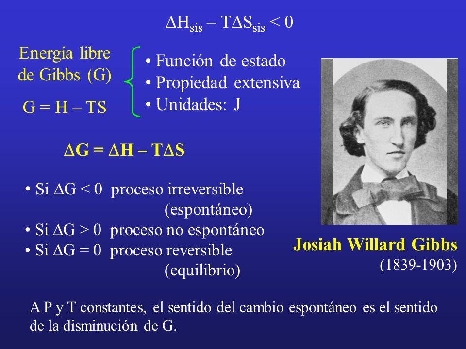 H sis – T S sis < 0 Josiah Willard Gibbs (1839-1903) Energía libre de Gibbs (G) G = H – TS Función de estado Propiedad extensiva Unidades: J G = H – T