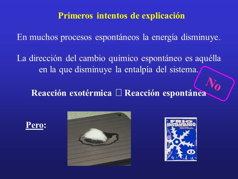 En muchos procesos espontáneos la energía disminuye. Primeros intentos de explicación La dirección del cambio químico espontáneo es aquélla en la que