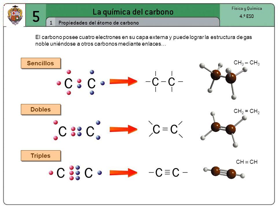 5 La química del carbono 2 Física y Química 4.º ESO La diversidad de los compuestos de carbono Los compuestos de carbono unen los átomos formando cadenas lineales, ramificadas o cíclicas.
