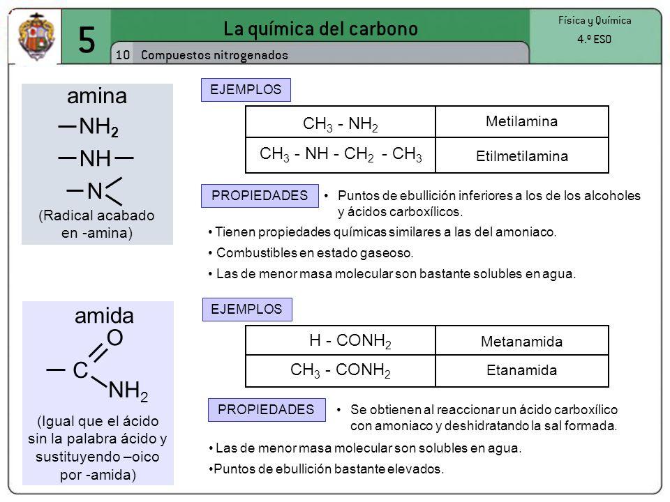 5 La química del carbono 10 Física y Química 4.º ESO Compuestos nitrogenados EJEMPLOS Tienen propiedades químicas similares a las del amoniaco. Puntos