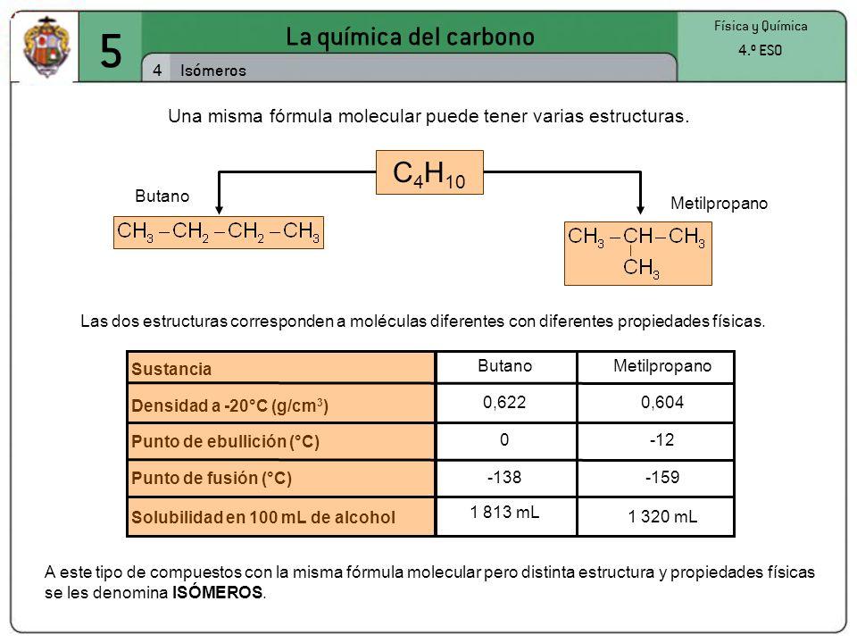 5 La química del carbono 4 Física y Química 4.º ESO Isómeros Una misma fórmula molecular puede tener varias estructuras. C 4 H 10 Butano Metilpropano
