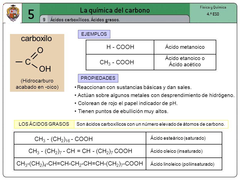 5 La química del carbono 9 Física y Química 4.º ESO Ácidos carboxílicos. Ácidos grasos. EJEMPLOS PROPIEDADES Reaccionan con sustancias básicas y dan s