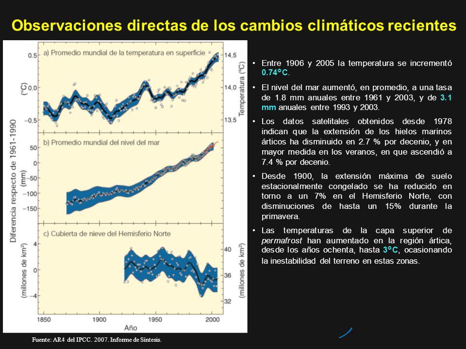 Observaciones directas de los cambios climáticos recientes Entre 1906 y 2005 la temperatura se incrementó 0.74°C. El nivel del mar aumentó, en promedi