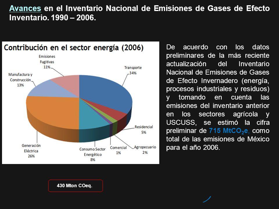 Avances en el Inventario Nacional de Emisiones de Gases de Efecto Inventario. 1990 – 2006. De acuerdo con los datos preliminares de la más reciente ac
