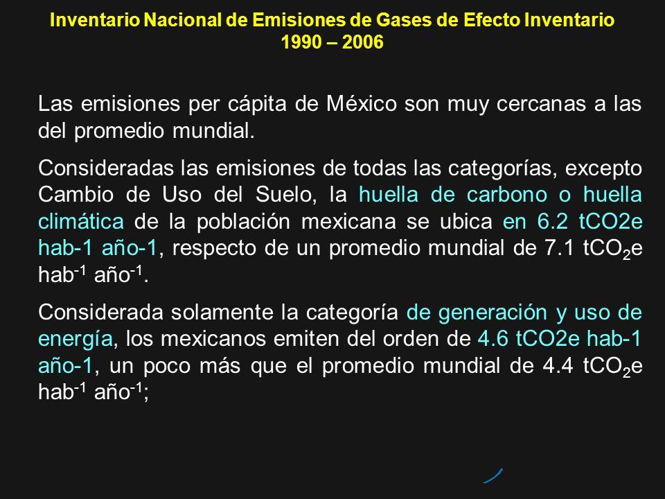 Inventario Nacional de Emisiones de Gases de Efecto Inventario 1990 – 2006 Las emisiones per cápita de México son muy cercanas a las del promedio mund