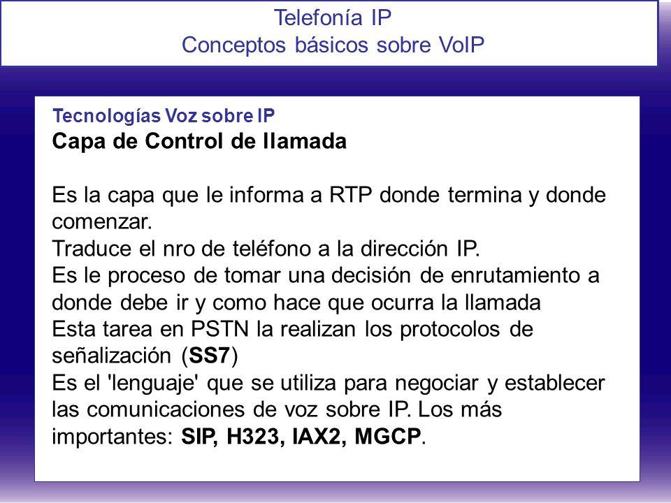 Telefonía IP Conceptos básicos sobre VoIP Tecnologías Voz sobre IP Capa de Control de llamada Es la capa que le informa a RTP donde termina y donde co