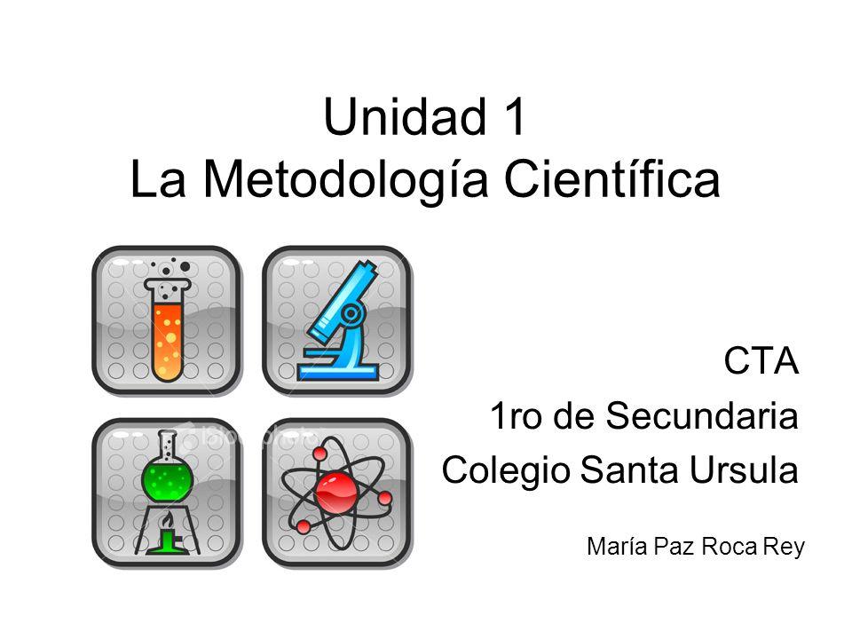 Unidad 1 La Metodología Científica CTA 1ro de Secundaria Colegio Santa Ursula María Paz Roca Rey