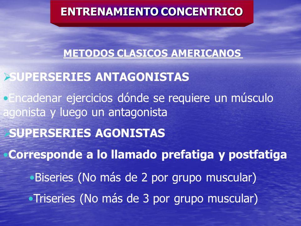 ENTRENAMIENTO CONCENTRICO METODOS CLASICOS AMERICANOS SUPERSERIES ANTAGONISTAS Encadenar ejercicios dónde se requiere un músculo agonista y luego un a