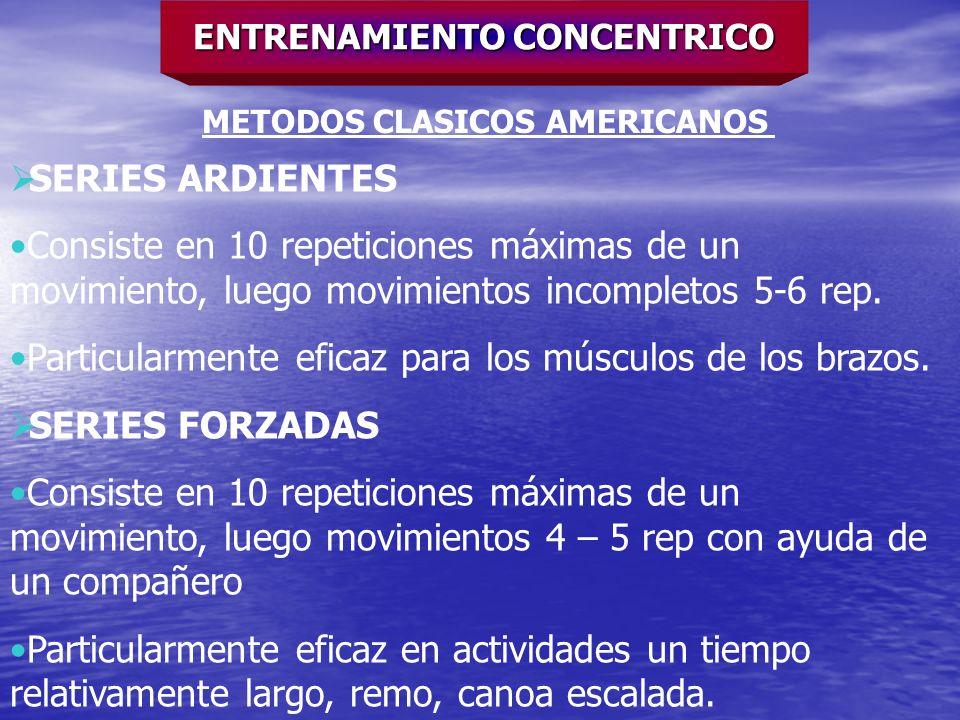ENTRENAMIENTO CONCENTRICO METODOS CLASICOS AMERICANOS SERIES ARDIENTES Consiste en 10 repeticiones máximas de un movimiento, luego movimientos incompl