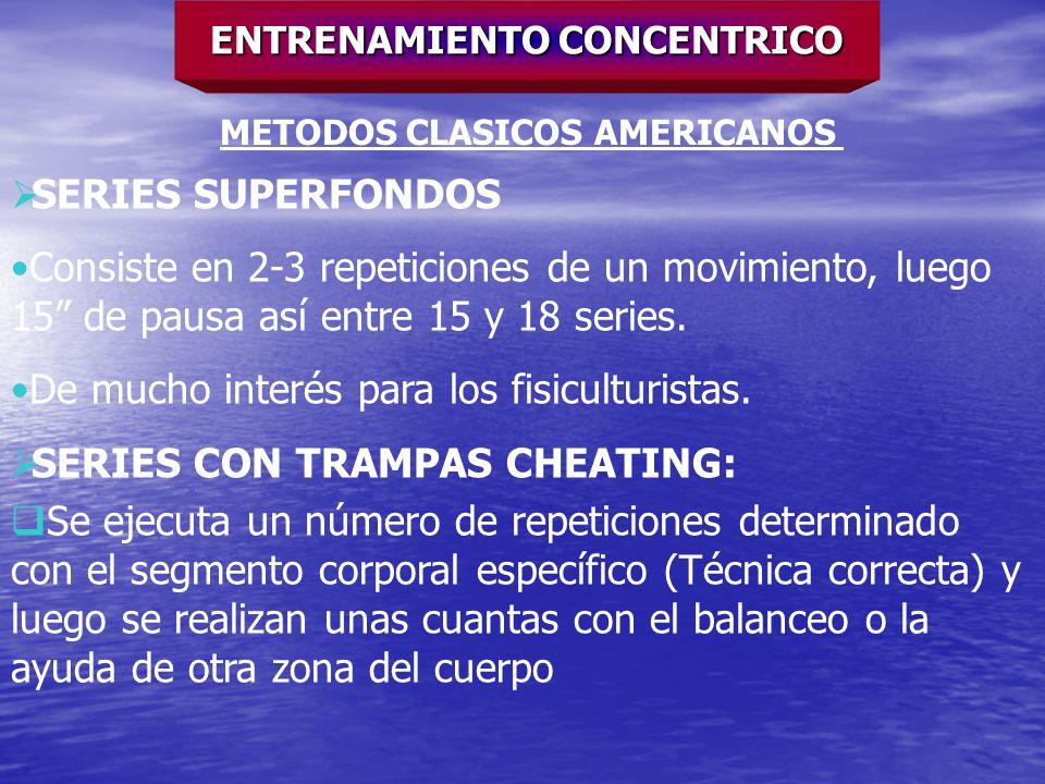 ENTRENAMIENTO CONCENTRICO METODOS CLASICOS AMERICANOS SERIES SUPERFONDOS Consiste en 2-3 repeticiones de un movimiento, luego 15 de pausa así entre 15