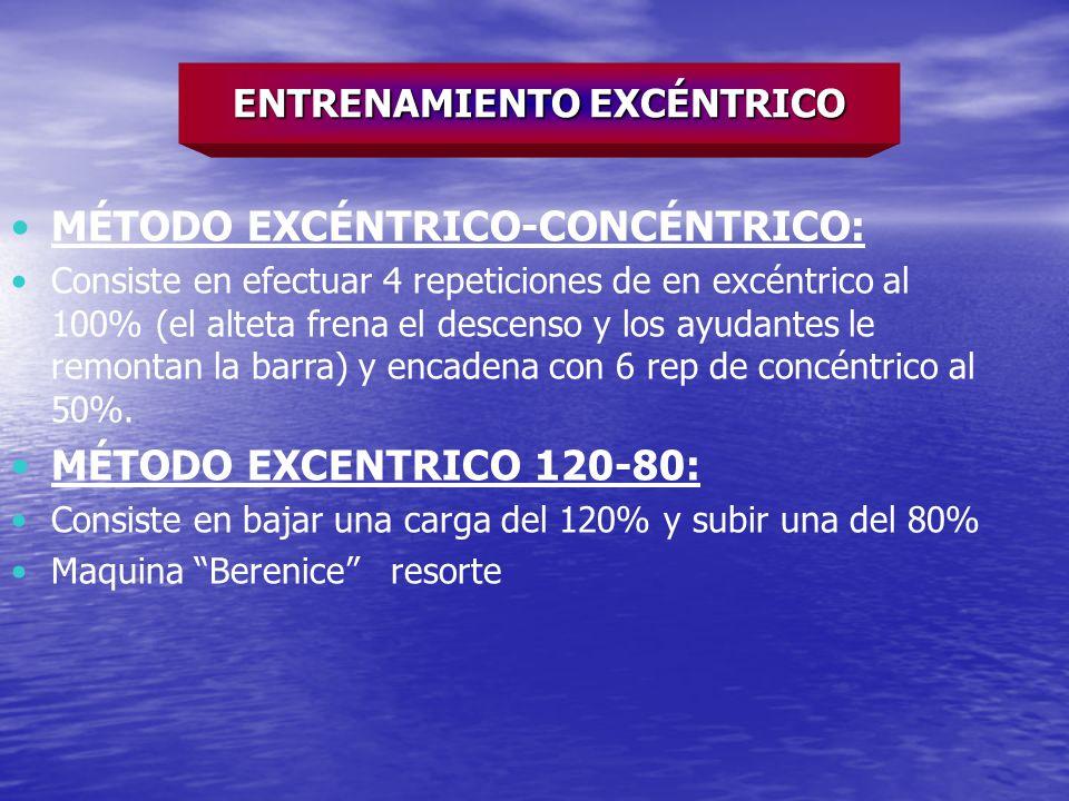 MÉTODO EXCÉNTRICO-CONCÉNTRICO: Consiste en efectuar 4 repeticiones de en excéntrico al 100% (el alteta frena el descenso y los ayudantes le remontan l