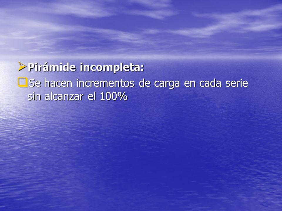 Pirámide incompleta: Pirámide incompleta: Se hacen incrementos de carga en cada serie sin alcanzar el 100% Se hacen incrementos de carga en cada serie