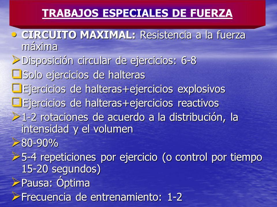 CIRCUITO MAXIMAL: Resistencia a la fuerza máxima CIRCUITO MAXIMAL: Resistencia a la fuerza máxima Disposición circular de ejercicios: 6-8 Disposición