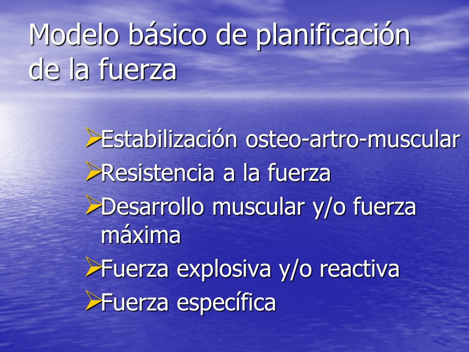 Modelo básico de planificación de la fuerza Estabilización osteo-artro-muscular Estabilización osteo-artro-muscular Resistencia a la fuerza Resistenci
