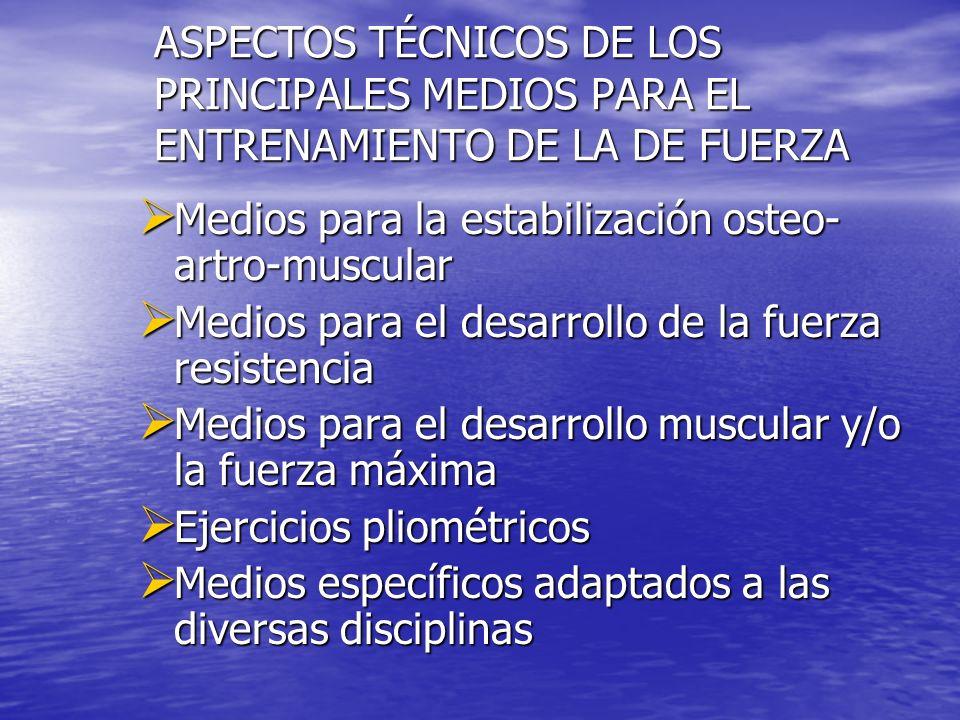 ASPECTOS TÉCNICOS DE LOS PRINCIPALES MEDIOS PARA EL ENTRENAMIENTO DE LA DE FUERZA Medios para la estabilización osteo- artro-muscular Medios para la e