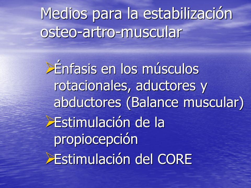 Medios para la estabilización osteo-artro-muscular Énfasis en los músculos rotacionales, aductores y abductores (Balance muscular) Énfasis en los músc