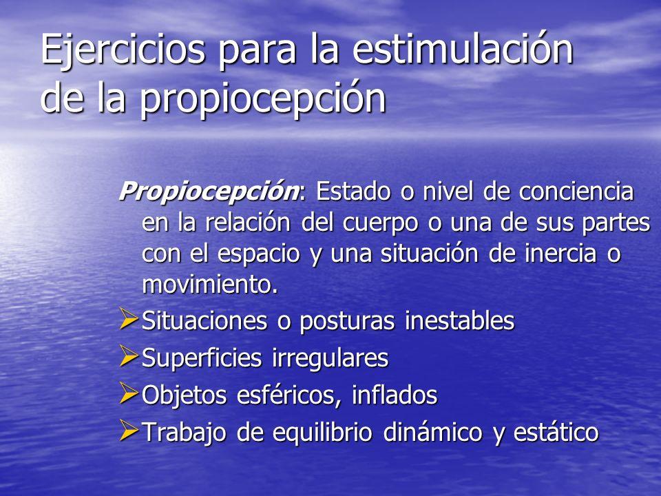Ejercicios para la estimulación de la propiocepción Propiocepción: Estado o nivel de conciencia en la relación del cuerpo o una de sus partes con el e