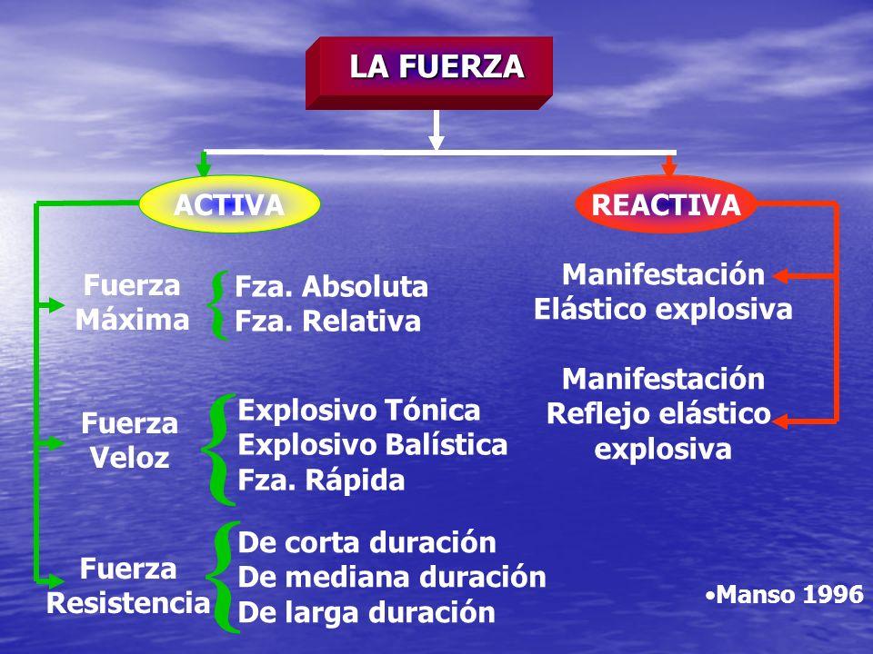 Fuerza Máxima Fza. Absoluta Fza. Relativa Fuerza Veloz Explosivo Tónica Explosivo Balística Fza. Rápida Fuerza Resistencia De corta duración De median