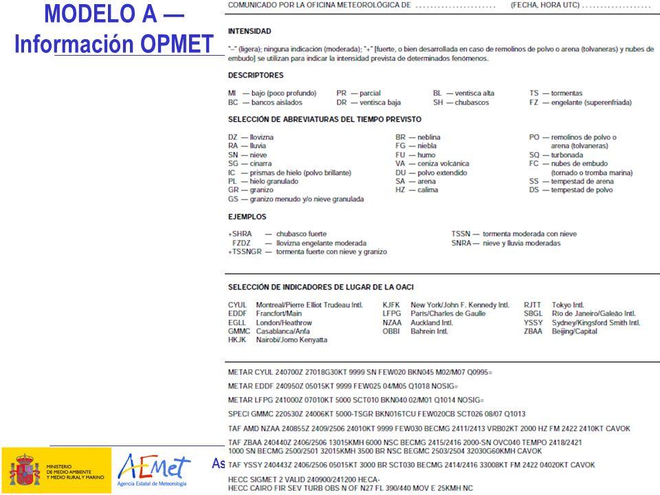 Aspectos meteorológicos de la planificación del vuelo 11 MODELO A Información OPMET