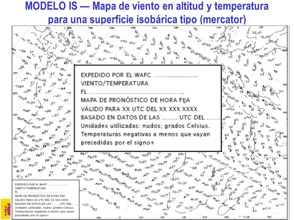 Aspectos meteorológicos de la planificación del vuelo 12 MODELO IS Mapa de viento en altitud y temperatura para una superficie isobárica tipo (mercato