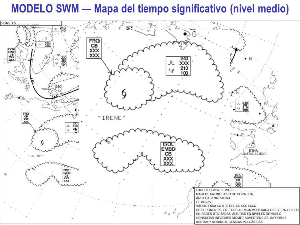 Aspectos meteorológicos de la planificación del vuelo 15 MODELO SWM Mapa del tiempo significativo (nivel medio)