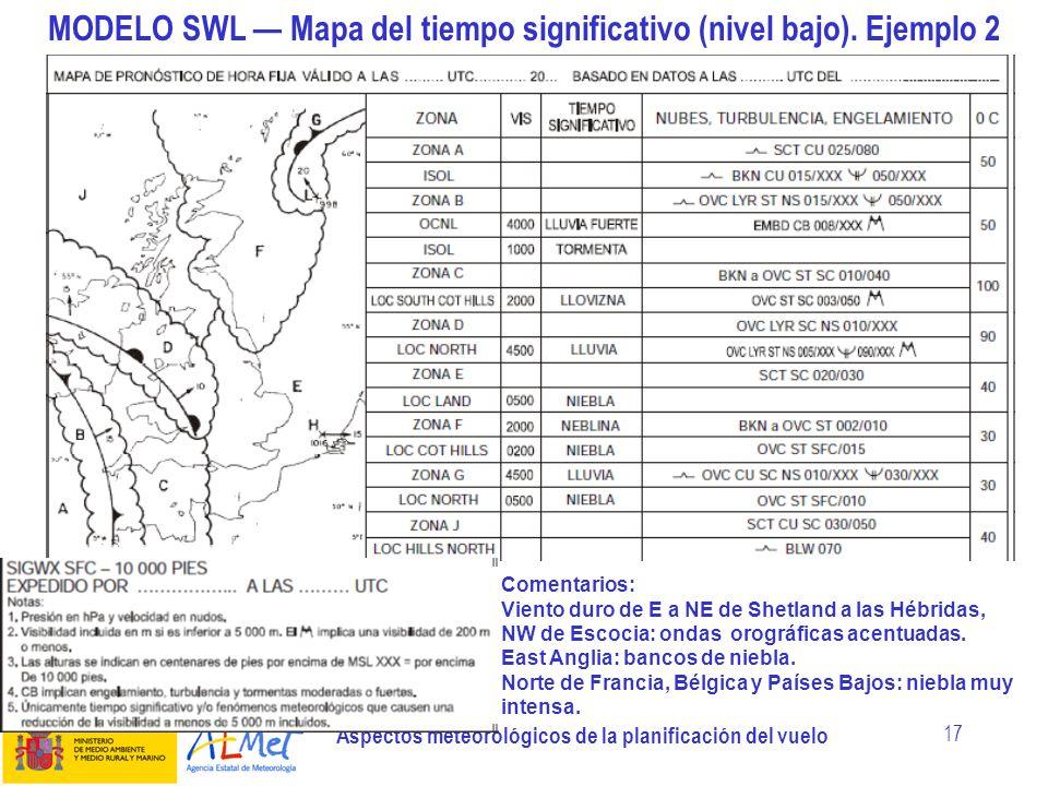 Aspectos meteorológicos de la planificación del vuelo 17 MODELO SWL Mapa del tiempo significativo (nivel bajo). Ejemplo 2 Comentarios: Viento duro de