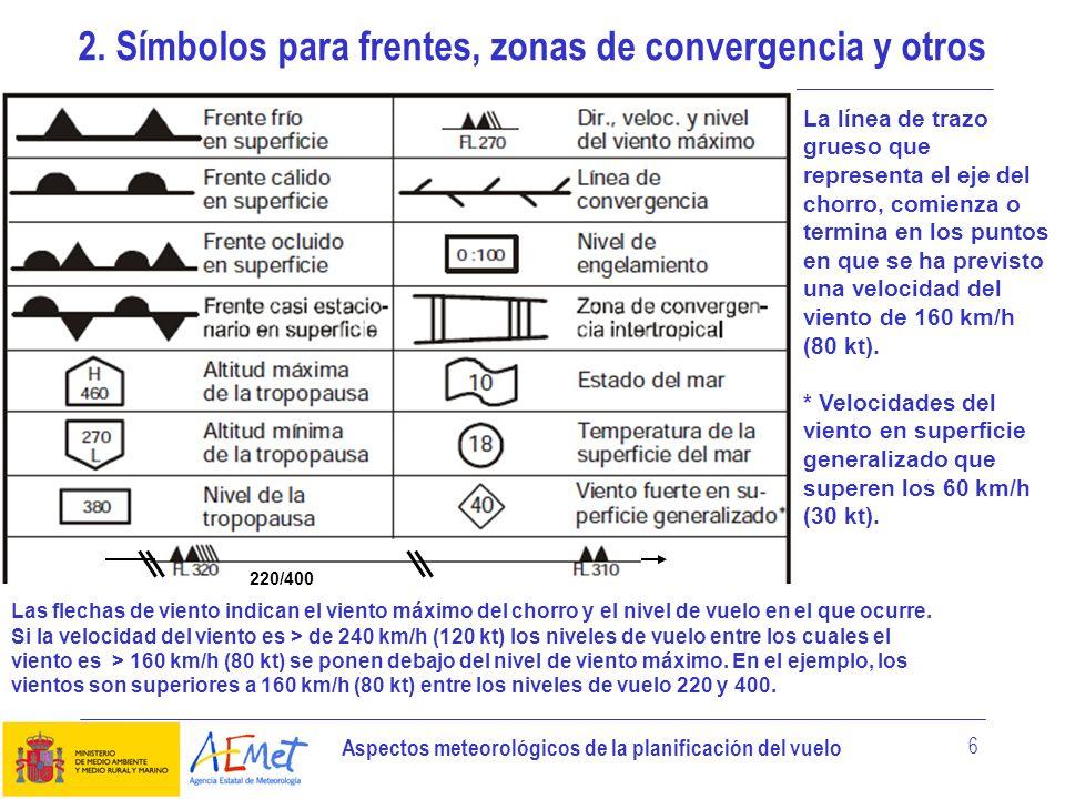 Aspectos meteorológicos de la planificación del vuelo 7 3.1 Tipo CI = Cirrus CC = Cirrocúmulos CS = Cirroestratos AC = AltocúmulosAS = AltoestratosNS = Nimboestratos SC = StratocúmulosST = EstratosCU = Cúmulos CB = Cumulonimbus 3.2 Cantidad Nubes excepto CB FEW = Nubes escasas (1/8 a 2/8) BKN = Cielo nuboso (5/8 a 7/8) SCT = Nubes dispersas (3/8 a 4/8) OVC = Cielo cubierto (8/8) CB solamente ISOL = CB aislados (aislados) OCNL = CB bien separados (ocasionales) FRQ = CB poco separados o no separados (frecuentes) EMBD = CB mezclados con capas de otras nubes u ocultos por la calima (inercalados) 3.3 Alturas En los mapas SWH y SWM se indican las alturas en niveles de vuelo; los límites superior e inferior se indican en ese mismo orden.