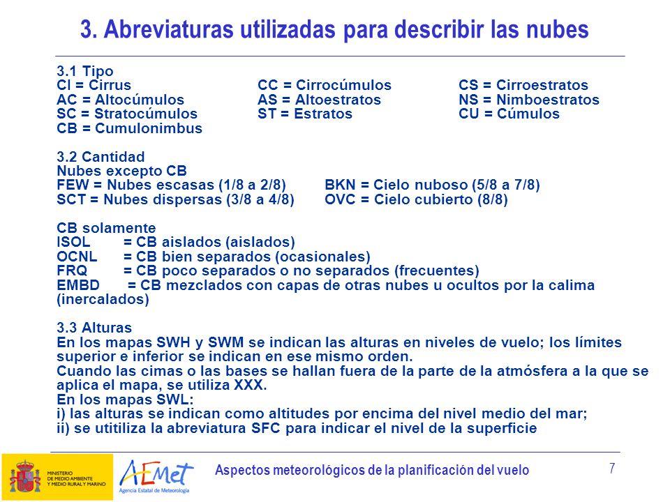 Aspectos meteorológicos de la planificación del vuelo 7 3.1 Tipo CI = Cirrus CC = Cirrocúmulos CS = Cirroestratos AC = AltocúmulosAS = AltoestratosNS