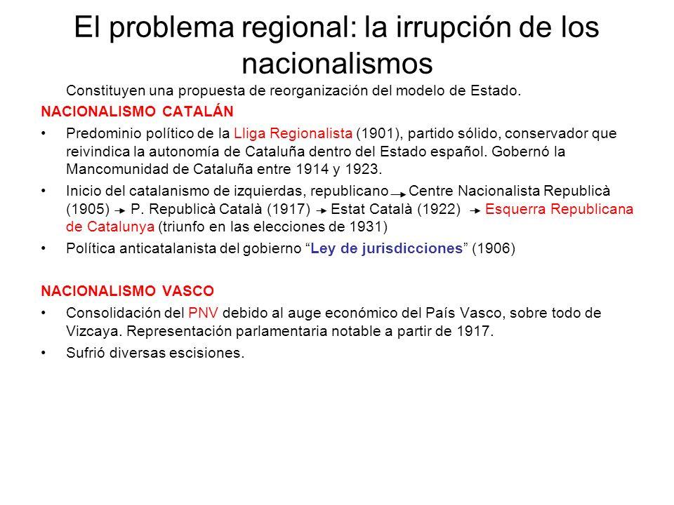 El problema regional: la irrupción de los nacionalismos Constituyen una propuesta de reorganización del modelo de Estado. NACIONALISMO CATALÁN Predomi