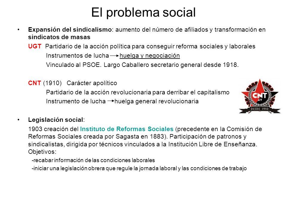 El problema social Expansión del sindicalismo: aumento del número de afiliados y transformación en sindicatos de masas UGT Partidario de la acción pol