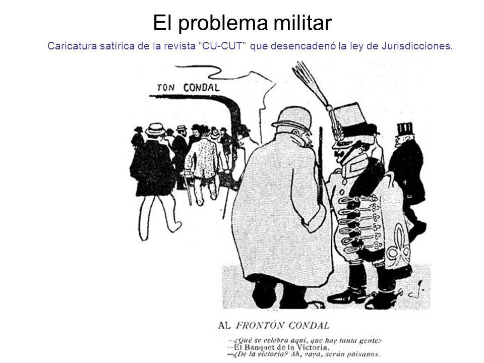 El problema militar Caricatura satírica de la revista CU-CUT que desencadenó la ley de Jurisdicciones.