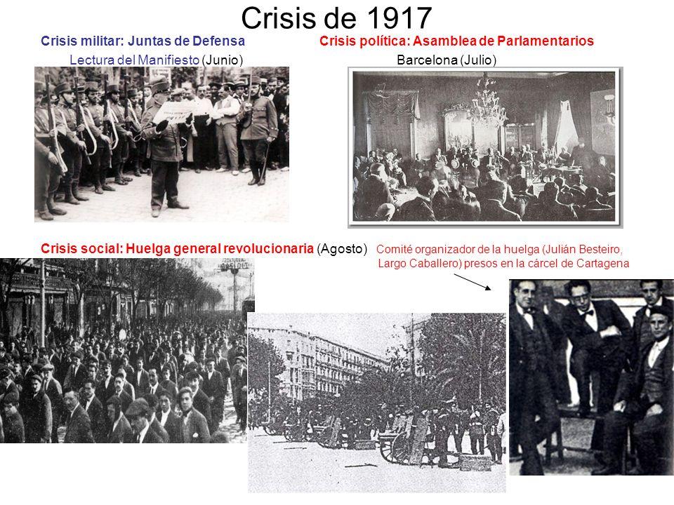 Crisis de 1917 Crisis militar: Juntas de Defensa Crisis política: Asamblea de Parlamentarios Lectura del Manifiesto (Junio) Barcelona (Julio) Crisis s